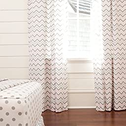 Carousel Designs Pink and Gray Chevron Drape Panel 84-Inch Length Standard Lining 42-Inch Width