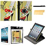 Foxnovo 4-in-1 360 degree Rotating Stand Smart PU Flip iPad 4 /iPad 3 /iPad 2 Case Cover with Screen Protector , Stylus Pen and Cleaning Cloth (Flower Vine High Heel Pattern)