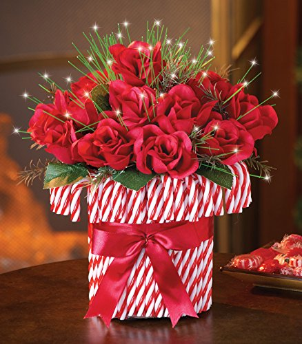 Fiber Optic Candy Cane Roses Bouquet Holiday Centerpiece