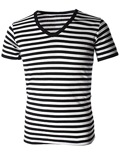 [FLATSEVEN Mens Casual Wide Striped V-Neck Short Sleeve Tee Shirt (TV1002) Black, M] (Pugsley Addams Costume)