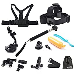 EEEKit 10in1 Accessories Bundle Kit for GoPro HERO4 SILVER/BLACK Hero3+ Hero 3 2 1 Camera, Chest Belt Strap + Head Belt Strap + Extension Stick Pole Handle Monopod + Suction Cup Mount Holder + Floating Handle Grip + 3-Way Adjustable Pivot Arm + Bike Handl