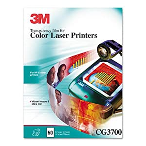 3M : Color Laser Printer Transparency Film, Clear, Letter, 50 per Box -:- Sold as 2 Packs of - 50 - / - Total of 100 Each