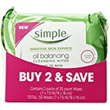 Simple Oil Balancing Cleansing Wipes 25 ct, Twin Pack