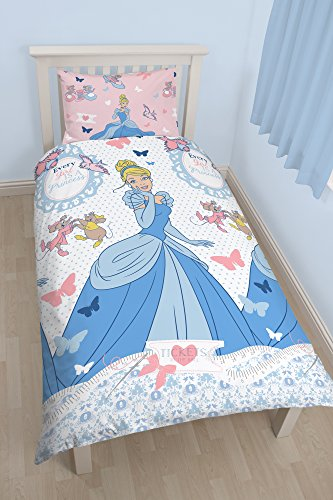 Disney Princess Cinders UK Single/ US Twin Duvet Cover and Pillowcase Set (Disney World Pillow compare prices)