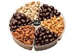 Call Me Nuts- Gourmet Gift Nut Tray (2 lb) Delicious, Kosher -Salted Cashews, Salted Almonds, Salted Pistachios, Chocolate Cashews, Chocolate Almonds, Chocolate Peanuts Great for All Holidays