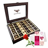 Valentine Chocholik's Belgium Chocolates - Essence Of Love Collection Gift Box With Love Card And Rose