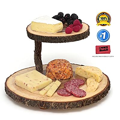 Paksh / Lipper International 2 Tier Tree Bark Cheese Board Serving Tray | Acacia Wood Serving Platter | Brown