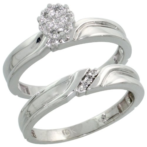 10k White Gold 2-Piece Diamond Engagement Ring Set, w/ 0.07 Carat Brilliant Cut Diamonds, 1/8 in. (3.5mm) wide, Size 9