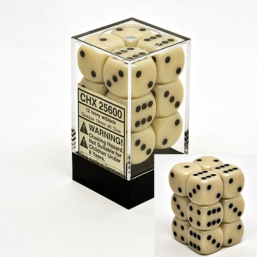 Ivory 16mm D6 Opaque Dice Block of 12