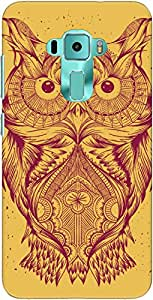 The Racoon Grip Orange Illustrated Owl hard plastic printed back case/cover for Asus Zenfone 3 Ze552Kl