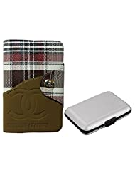 Apki Needs Long Brown Mens Wallet & Silver Colored Credit Card Holder Combo