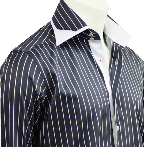 Italian Design Men Formal Office & Casual Shirts Gray Strips Slim Fit S-4XL