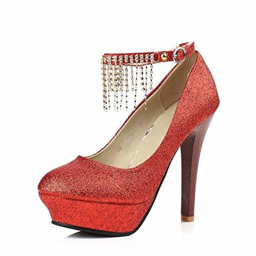 moda scarpe rosse rotondo/Super scarpe tacco alto plateau strass e cinturino-A Lunghezza piede=22.8CM(9Inch)