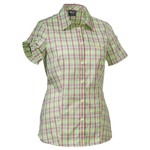 Jack Wolfskin Damen Bluse River Shirt Women, Fresh Lemon Checks, XXL, 1400991-7506006