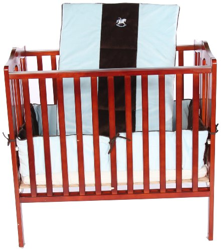 Baby Doll Bedding Cozy Carousel II Minky with Embroidery Port-a-Crib Bedding Set, Blue