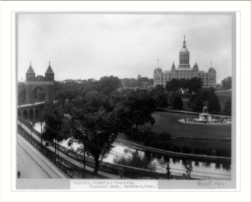 Historic Print (L): Capitol, Arch And Fountain, Bushnell Park, Hartford, Conn.
