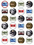 "X24 1.5"" Vintage Cassette Player & Tape Birthday Cup Cake Toppers Decorations on Edible Rice Paper"