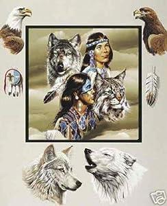 Native American Design Polar Fleece Throw Blanket 50x60