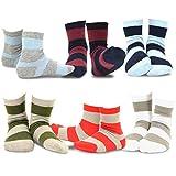 Naartjie Kids Boys Short Cotton Crew Socks Rugby Stripe 6 Pairs Pack (6YR-8YR)