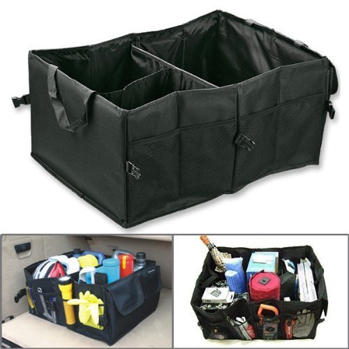Eforstore New High Quality Oxford Fabric Portable Multipurpose Organizer Foldable Cargo Storage Box Bag Case Basket with Rope Handles For Car SUV Travel Vocation Trip Camping Home Toys Black