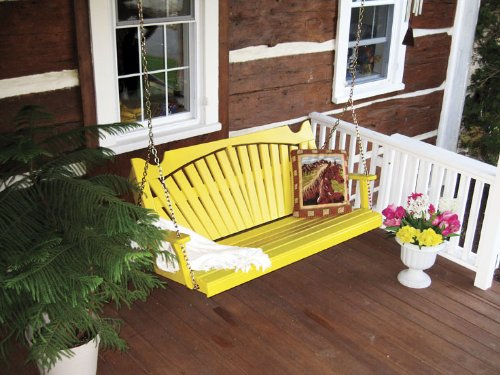 Classic Outdoor 5 Foot Fanback Porch Swing - STAINED- Amish Made USA -Oak