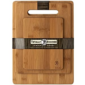 Totally Bamboo 3 Piece Bamboo Cutting Board Set; Perfect For Meat & Veggie Prep, Serve Bread, Crackers & Cheese, Cocktail Bar Board