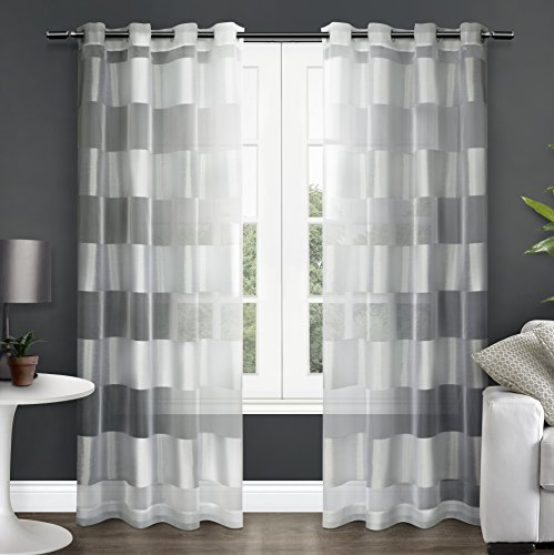 Exclusive Home Navarro Striped Sheer Grommet Top Window Curtain Panels (Set of 2), 54