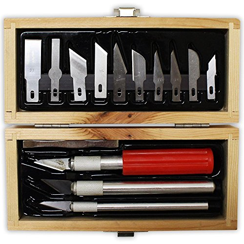 "16 Piece Hobby Knife Set in Classic Wooden Box (7"" X 3"" X 1 5/8"")"