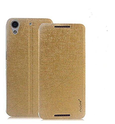 Original Pudini® Yusi Rain Series Flip Case For HTC Desire 626G+ Golden White Free Screen Guard + Free Ziaon Mini Stylus