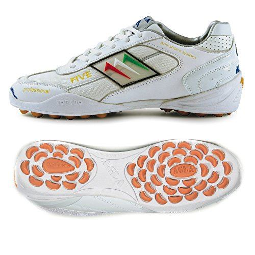 AGLA PROFESSIONAL FIVE OUTDOOR WHITE WHITE scarpe calcetto calcio a 5 futsal (EUR 39.5)
