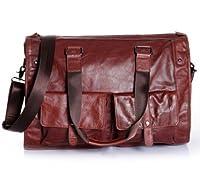 Amango Vintage Leather Travel Tote Dark Red
