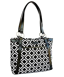 Kailo Chic Women\'s Casual Laptop Tote (Black and White Moroccan)