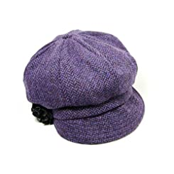 Mucros Irish Newsboy Cap for Women-100% Wool-Purple