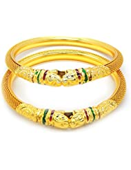 MULTI COLOR PEACOCK MEENAKARI KUNDAN GOLD PLATED BANGLES SET FOR WOMEN SIZE 2.4