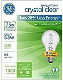GE Lighting 78797 Energy-Efficient Crystal Clear 53-Watt (75-watt replacement) 1050-Lumen A19 Light Bulb with Medium Base, 2-Pack
