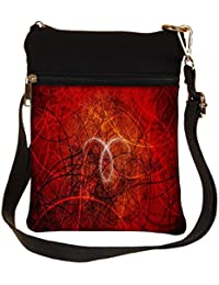 Snoogg Abstract Red Design Cross Body Tote Bag / Shoulder Sling Carry Bag