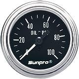 Sunpro CP7977 Mechanical Oil Pressure Gauge - Black Dial