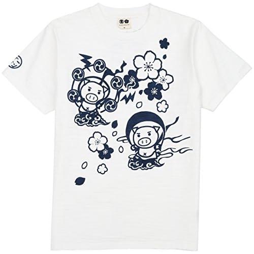 (ブーテンショウテン)BUDEN SHOTEN 豊天商店 風神雷神桜半袖Tシャツ BU1152004  11美白 M