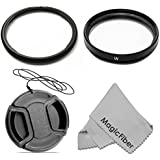 58MM Lens Conversion Adapter Ring for CANON POWERSHOT SX50 HS Cameras + Ultraviolet Protection Filter + Center Pinch Lens Cap + MagicFiber Microfiber Lens Cleaning Cloth