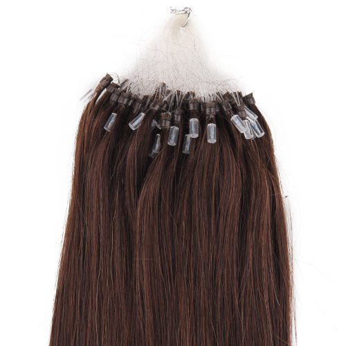 "Beauty7 18"" 20"" 22"" 24"" Loop Micro Ring Beads Tipped Remy Human Hair Extensions 50G 100S (#2 Dark Brown) (18"") front-16864"