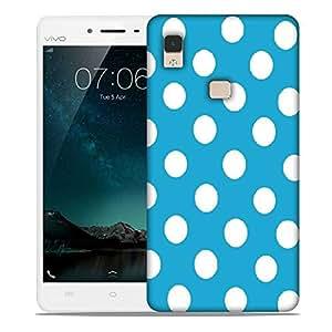 Snoogg Blue Polka Dot Designer Protective Back Case Cover For Vivo V3 Max