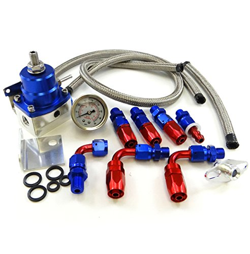Universal Adjustable EFI Aluminum Fuel Pressure Regulator Kit w/ 60 - 160 Psi Gauge An6 -6an Fuel Line Hose Fittings Blue (Regulator Fuel Universal compare prices)