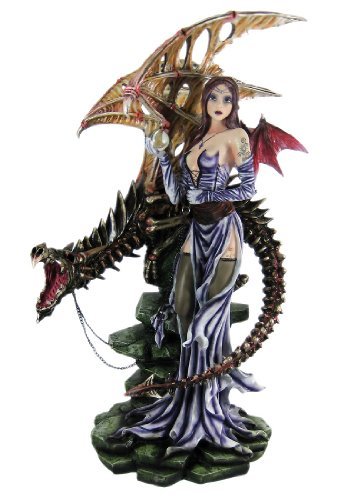 Huge Bat Winged Fairy Statue W/ Skeleton Dragon 25 Inch