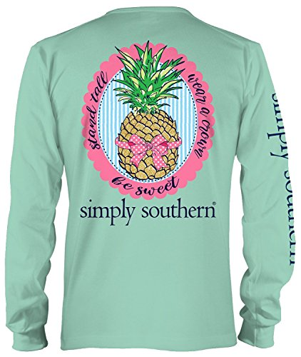 Simply Southern Stand Tall Wear a Crown Be Sweet Pineapple Long Sleeve T-shirt (X-Large) (Southern Shirt Company Xl compare prices)