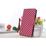 K�nig Shop Samsung Galaxy S3 mini i8190 / i8195 / i8200 Handy H�lle Schutzh�lle Tasche (Flip Quer) Wallet Rockabilly Etui Schutz Case Cover Bumper Standfunktion Pink / Wei� Gepunktet