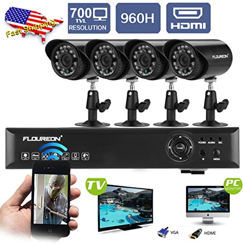 Read About FLOUREON 4CH 960H Digital Video Recorder HDMI DVR+Outdoor Night Vision Bullet Camera 700T...