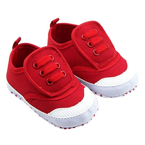 FEITONG Toddler Infant Baby Boy Girl Soft Sole Crib Shoes Sneaker (Age:6~12 Month, Red)