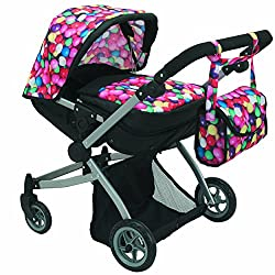 Babyboo Deluxe Twin Doll Pram/Stroller Gumball & Black With Free Carriage Bag (Multi Function View All Photos) 9651 A