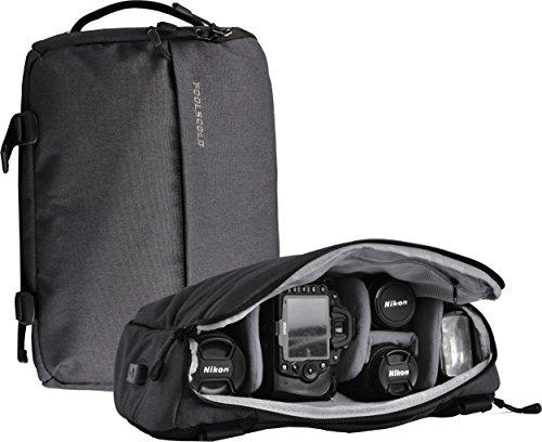 foolsGold Appareil photo reflex hybride professionnel sac à dos sac bandouliere avec USB en gris foncé