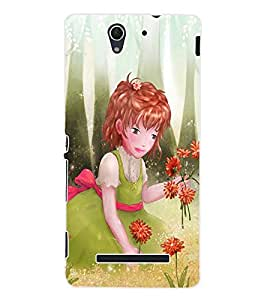 ColourCraft Cute Girl Back Case Cover for SONY XPERIA C3 D2533